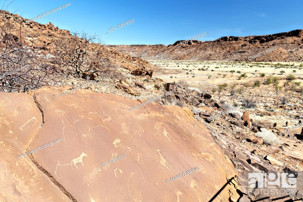 Stock Photo: Namibia, Africa. Twyfelfontein, a site of ancient rock engravings in the Kunene Region of north-western Namibia.