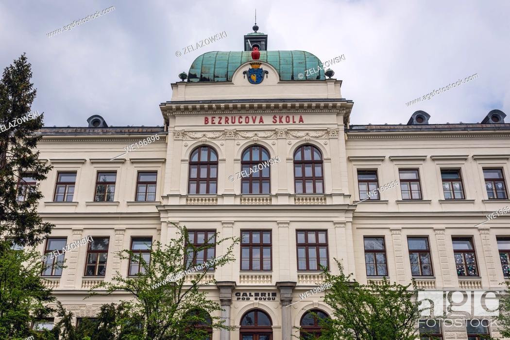 Stock Photo: Primary school named after Petr Bezruc in Frydek-Mistek city in the Moravian-Silesian Region of Czech Republic.