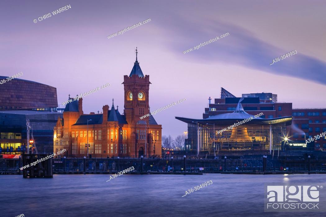 Stock Photo: Pier House and Senedd Cardiff Bay Cardiff Wales.