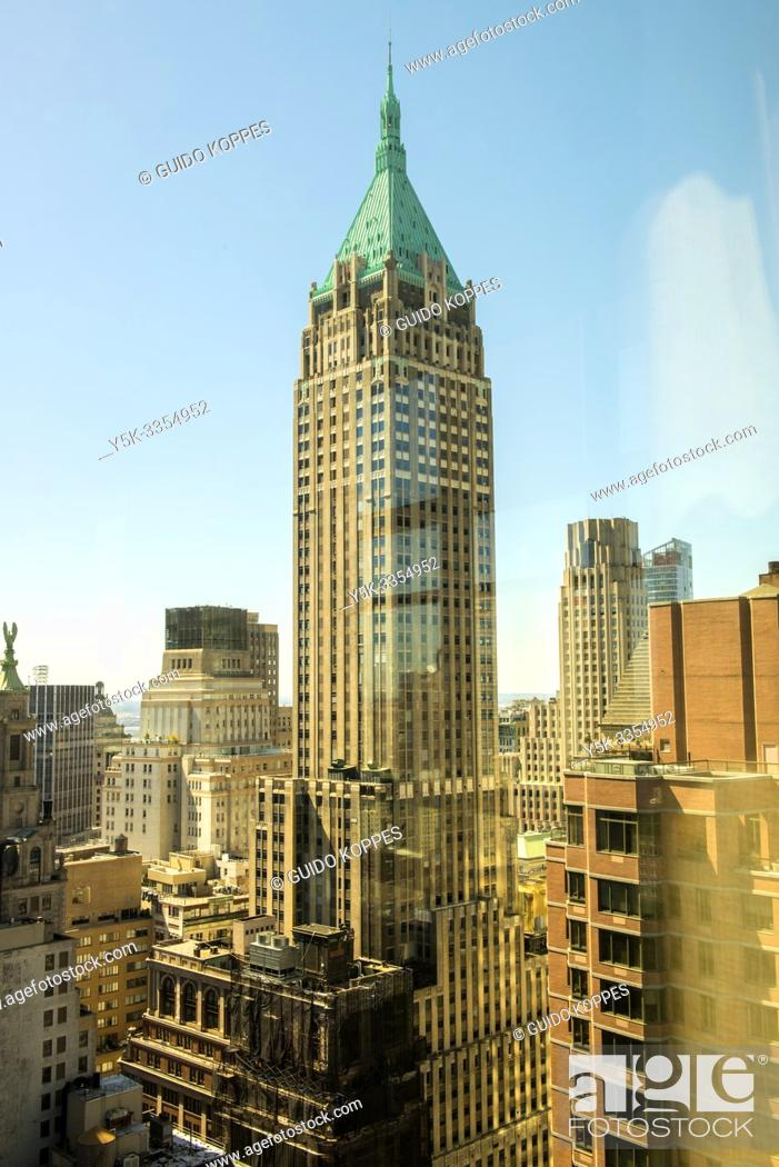 Stock Photo: New York City, USA. View on Manhattan's Trum Building, formerly Bank of Manhattan Building, one of the famous and iconic skyscrapers down town.