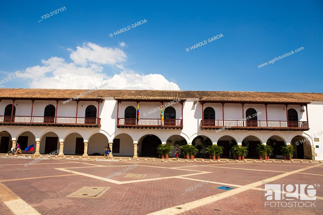 Stock Photo: Plaza de la Aduana in the walled city of Cartagena, Colombia. South America. .