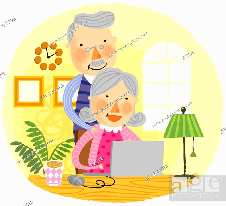 Stock Photo: Elderly couple looking at laptop.