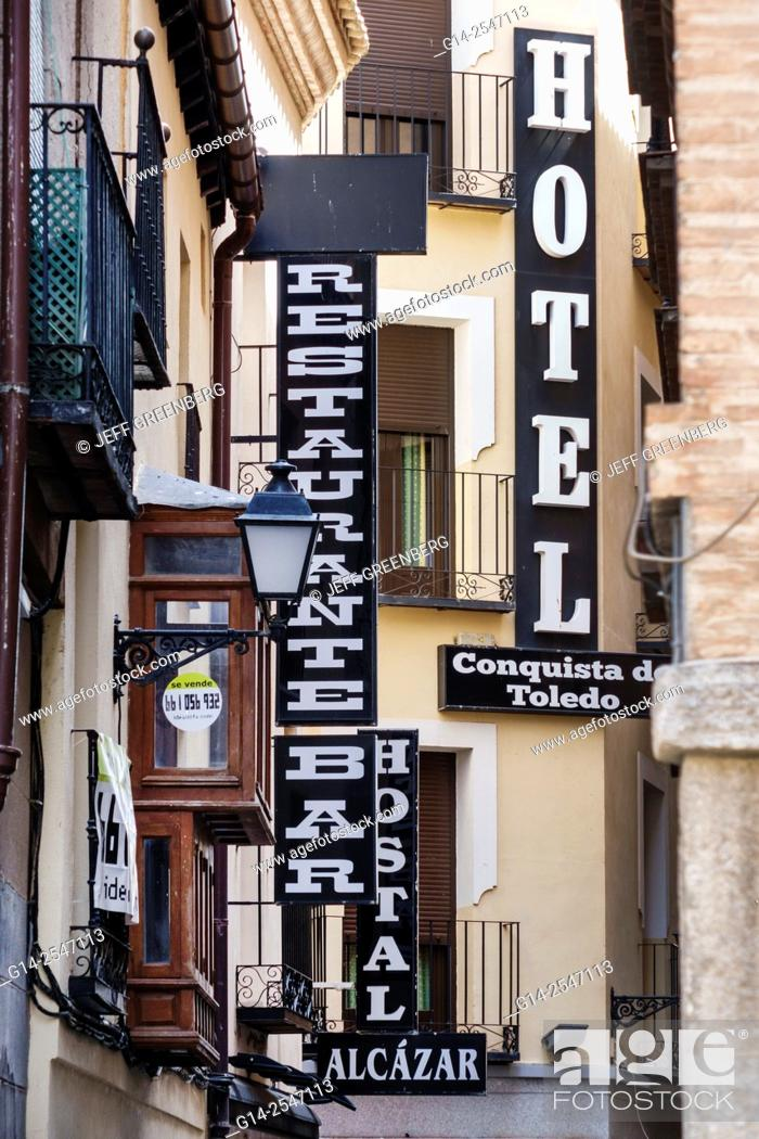 Spain Europe Spanish Toledo Business Signs Signage Hotel Restaurant Building Exterior Foto De Stock Imagen Derechos Protegidos Pic G14 2547113 Agefotostock