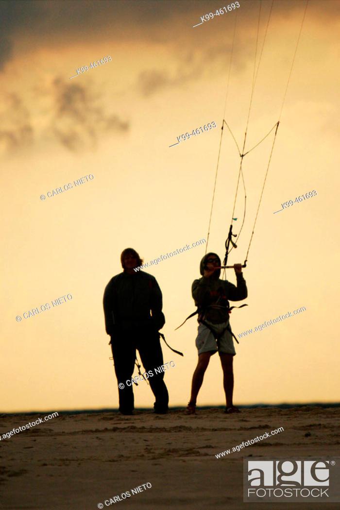 Stock Photo: Kitesurf at beach. Tarifa, Cádiz province, Andalusia, Spain.
