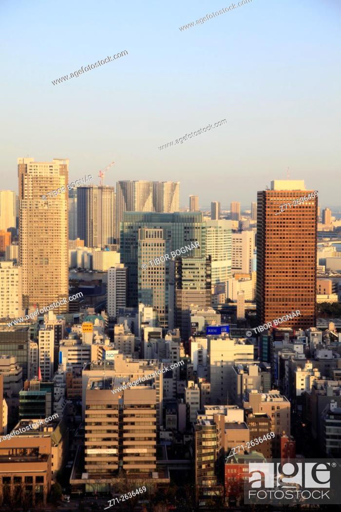 Stock Photo: Japan, Tokyo, skyline, aerial view,.