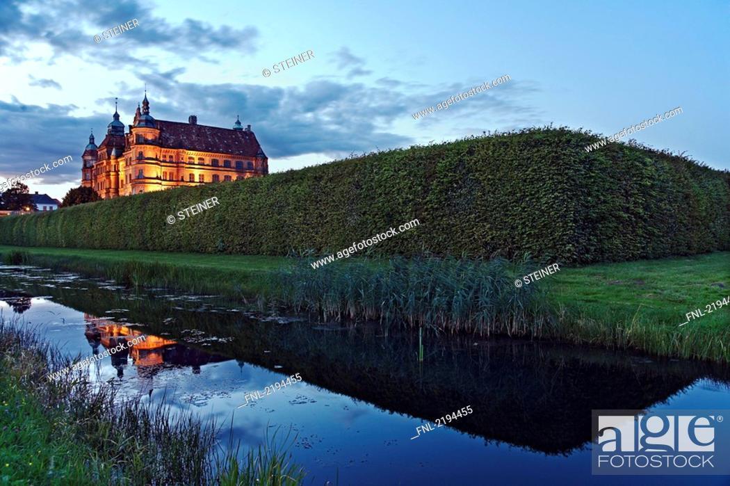 Stock Photo: Museum lit up at dusk, Mecklenburg-Western Pomerania, Germany.