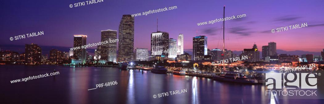 Stock Photo: Night Skyline Miami FL USA.