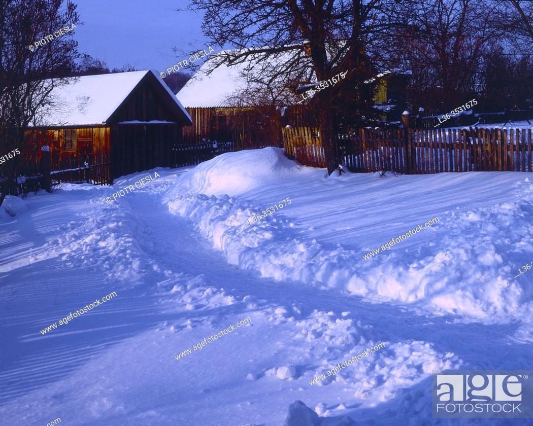 Stock Photo: Winter in a village, Podlasie region, Poland.