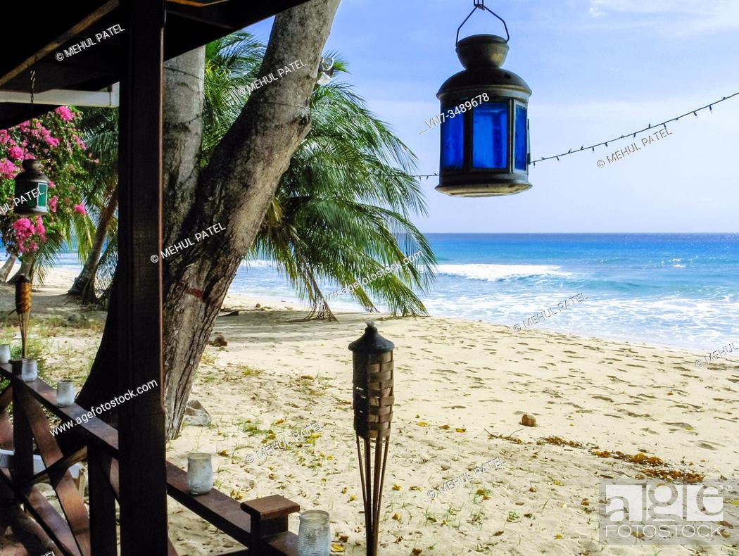 Stock Photo: View of beach and Caribbean Sea from patio - Barbados.
