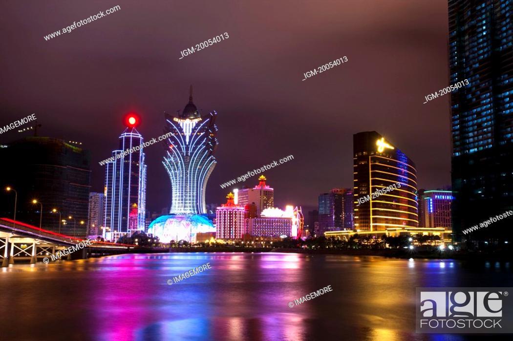 Stock Photo: China, Macou, Nightlife.