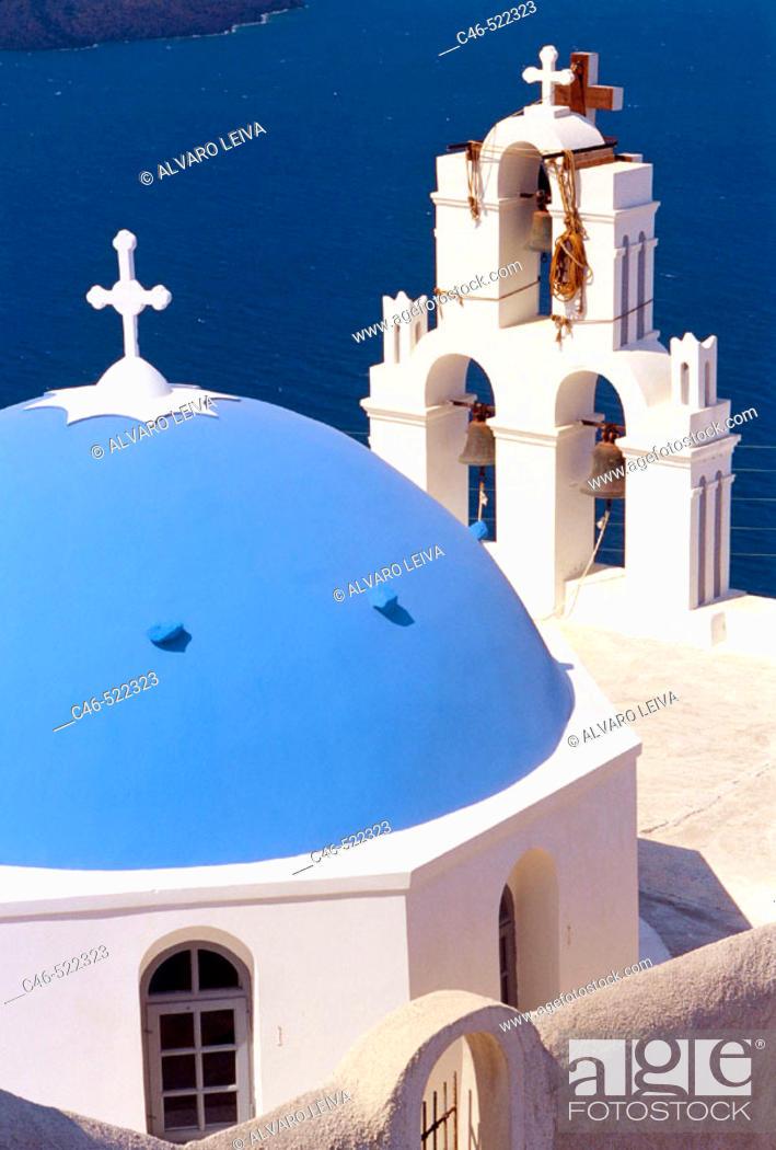 Stock Photo: Church, Thera, Santorini, Cyclades Islands, Greece.