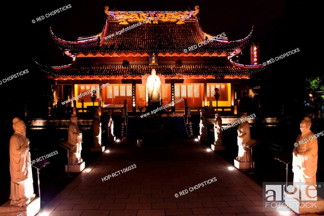 Stock Photo: Pagoda lit up at night, Nanjing, Jiangsu Province, China.