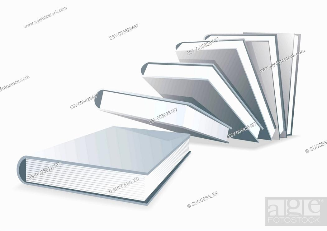 Stock Vector: Blank book cover white isolated.