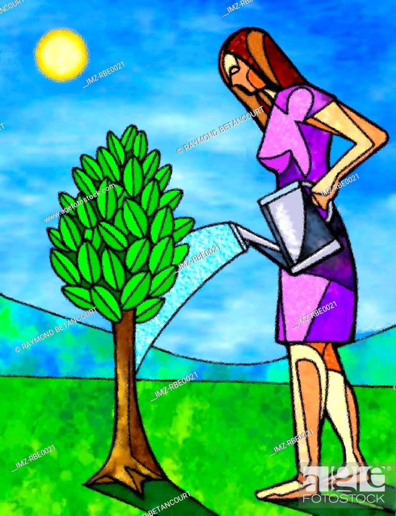 Stock Photo: woman watering a tree.