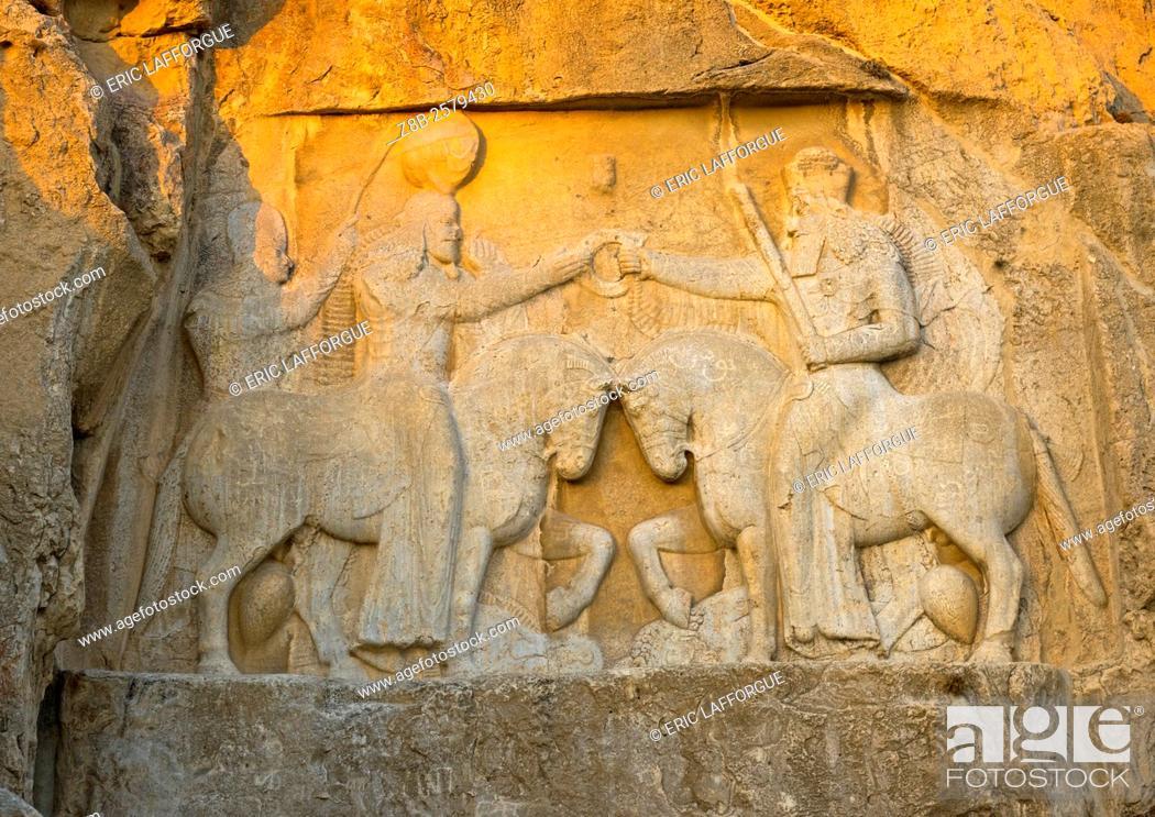 Stock Photo: The Investiture Of Ardashir I In Naqsh-e Rustam Necropolis, Fars Province, Shiraz, Iran.