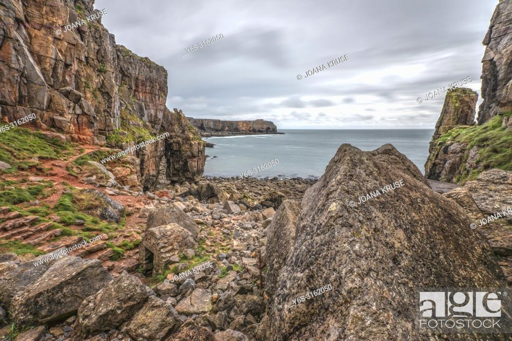 Stock Photo: St Govan's Chapel, Pembrokeshire, Wales, UK, Europe.