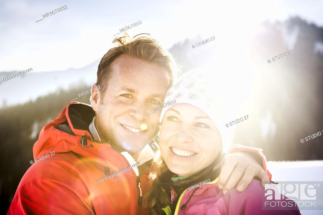Photo de stock: Portrait of happy couple in winter landscape, Achenkirch, Austria.