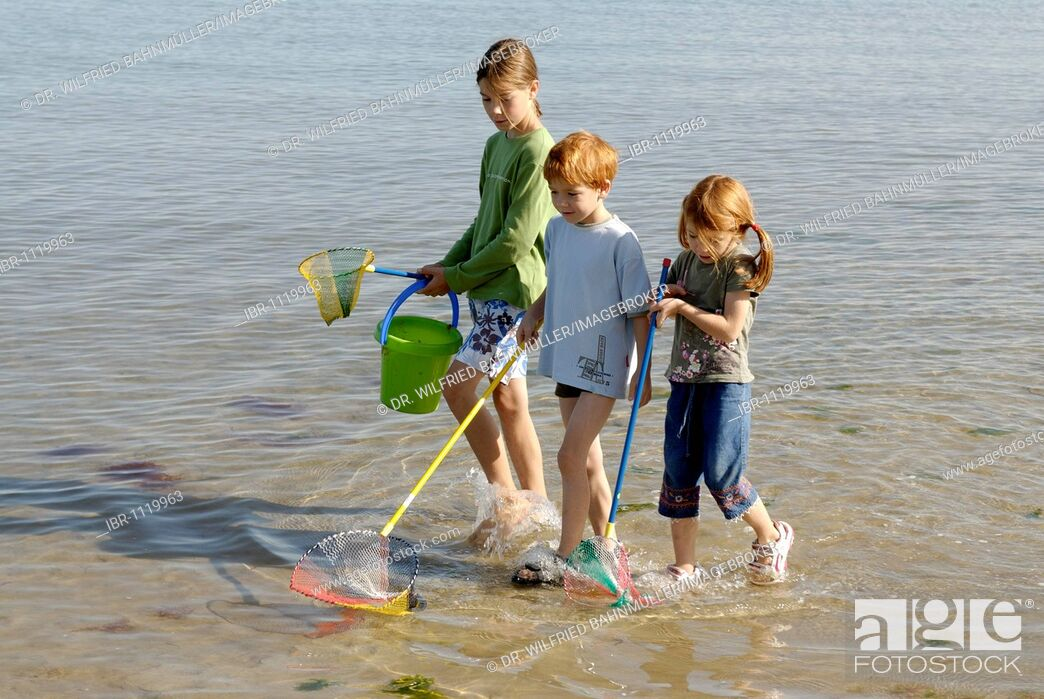 Stock Photo: Children walking on the beach, seaside with fishing net and bucket at the Adria, Bibione, Venetia, Venice, Italy, Europe.