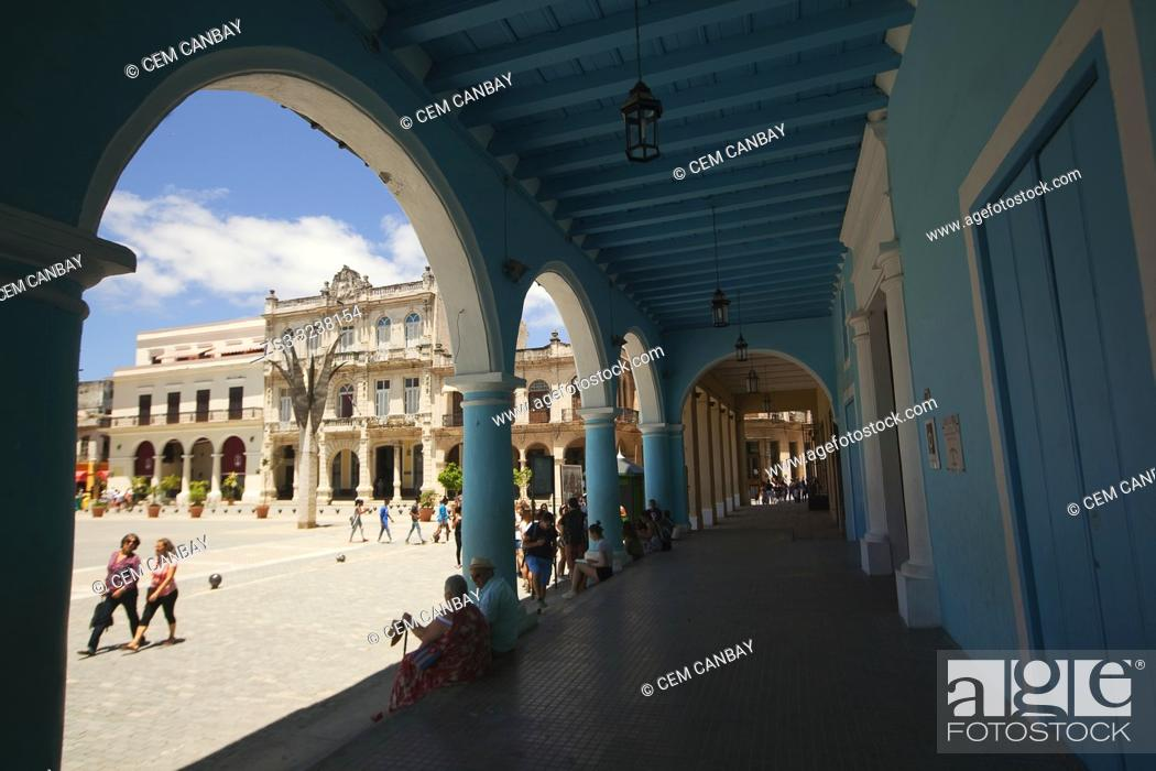 Stock Photo: View to the Plaza Vieja-Old Square with colorful buildings and art galleries, Old Havana-Havana Vieja, La Habana, Cuba, West Indies, Central America.