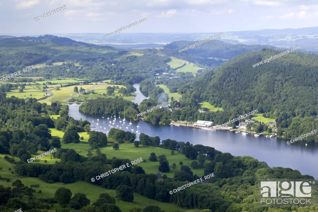 Stock Photo: The view over the southern end of Lake Windermere from the footpath to Gummers How, a well known viewpoint in The Lake District, Cumbria, UK.