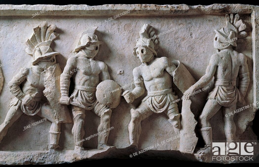 Stock Photo: Figures of gladiators, detail from a marble relief, Lusius Storax's tombstone, ca 30-50. Roman civilisation, 1st century.