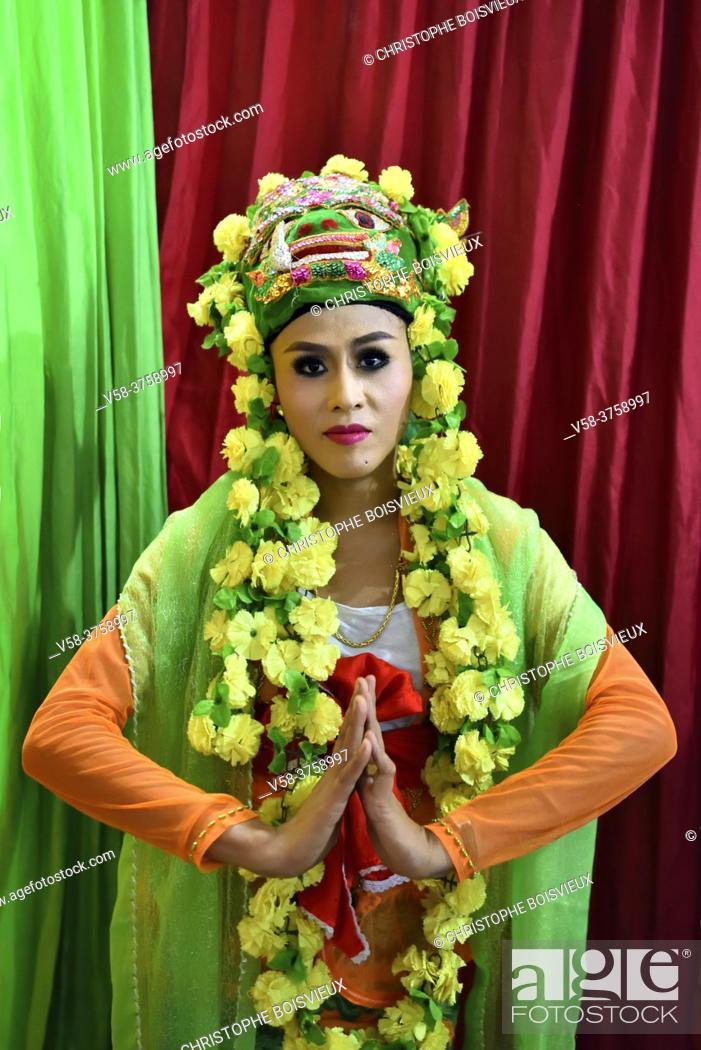 Stock Photo: Myanmar, Bago, Hintha Gon pagoda, Nat Pwe (Spirits festival), Natgadaw (Nat's wife).