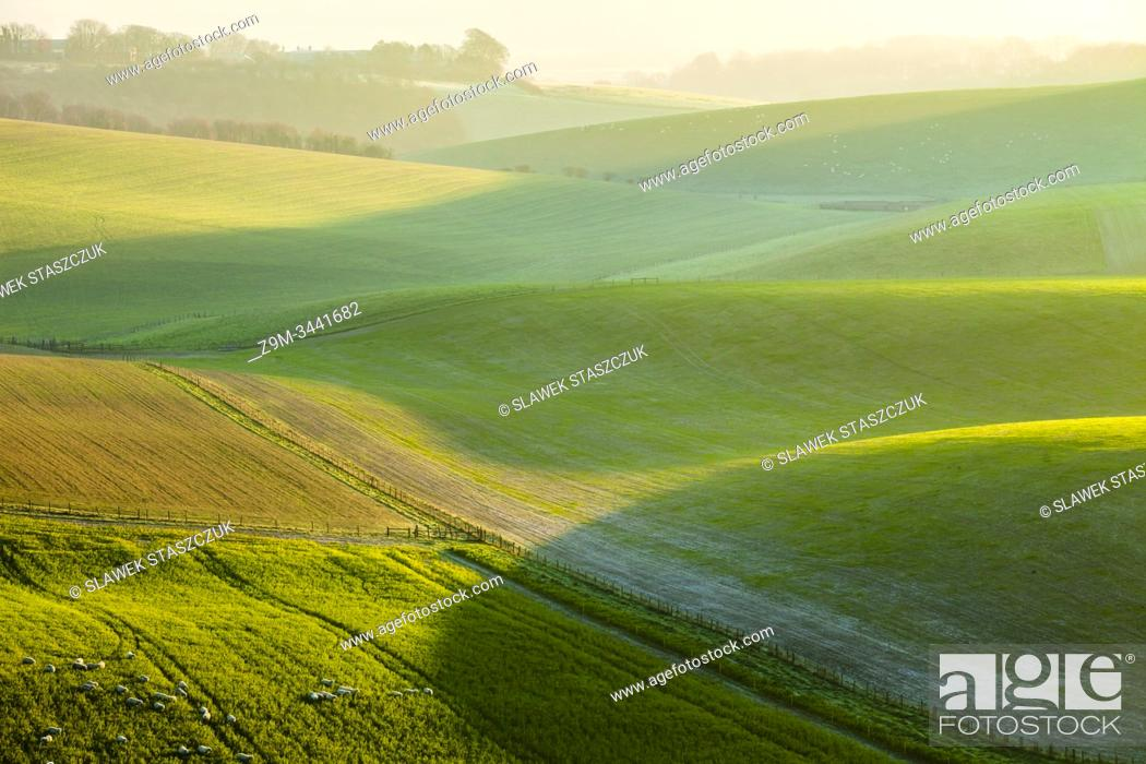Stock Photo: Sunrise in South Downs National Park, West Sussex, England.