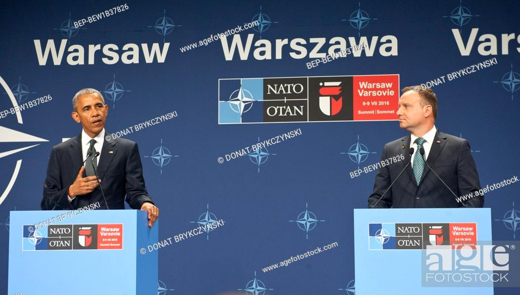 Stock Photo: President Barack Obama and Polish President Andrzej Duda making statements following their meeting at NATO Summit. National Stadium, Warsaw on July 8th, 2016.
