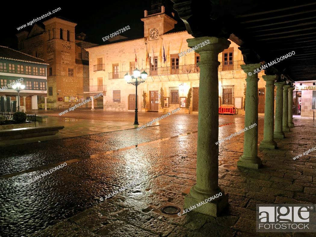 Stock Photo: Plaza and Municipality of the town of Almagro, Ciudad Real, Castilla La Mancha, Spain, Europe.