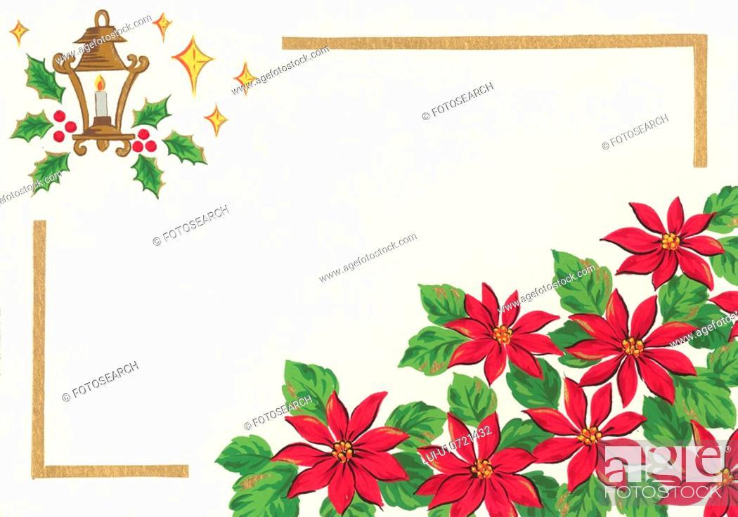 Stock Photo: Poinsettia Frame.