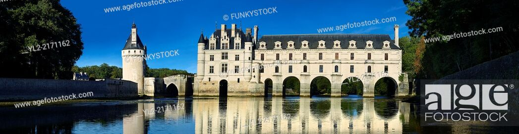 Stock Photo: The Chateau de Chenonceau designed by French Renaissance architect Philibert de l'Orme 1555 by to span the River Char. Loire Valley.