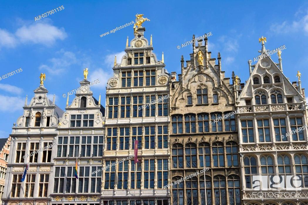 Stock Photo: Belgium - Flanders - Antwerp - Grote Markt, Grand Place - The guild houses.