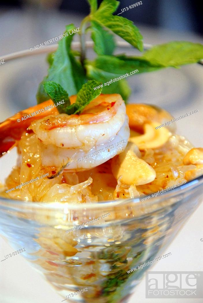 Stock Photo: Thai style shrimp, ceviche.
