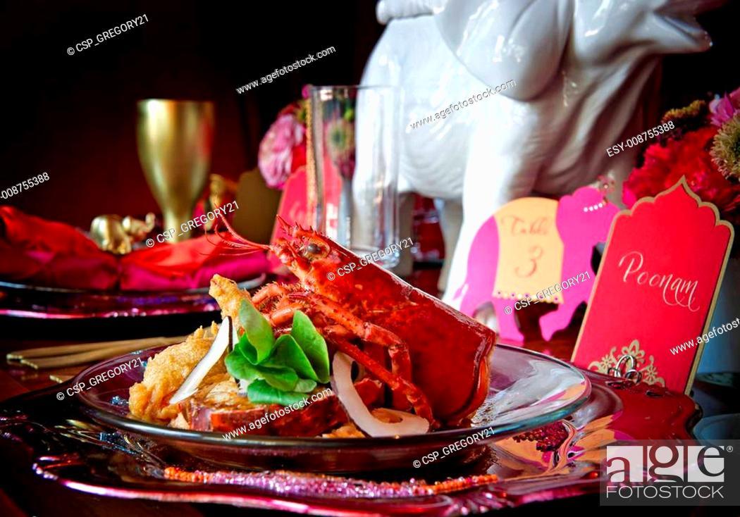 Stock Photo: Gourmet Lobster Dinner.