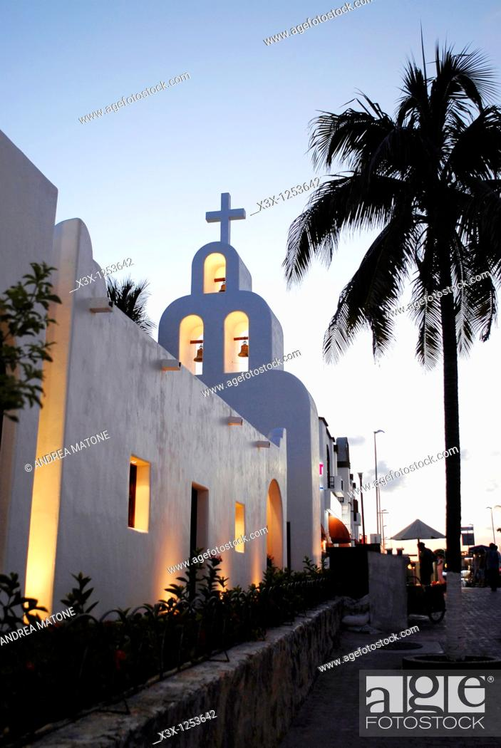 Stock Photo: The church bell tower in Playa del Carmen Yucatan Mexico.
