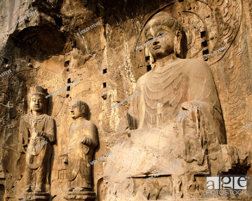 Stock Photo: Ancestor, Asia, Buddhist, Caves, China, Henan, Heritage, Holiday, Landmark, Longmen, Luoyang, Province, Tang dynasty, Temple, To.