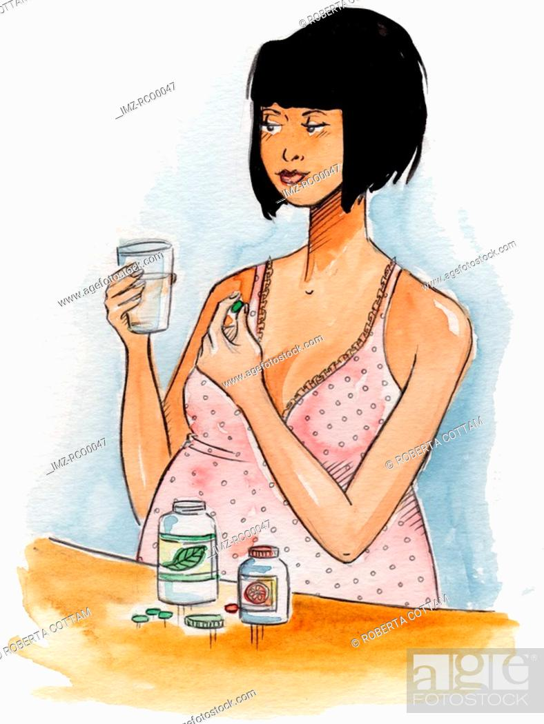 Stock Photo: A pregnant woman taking pills.
