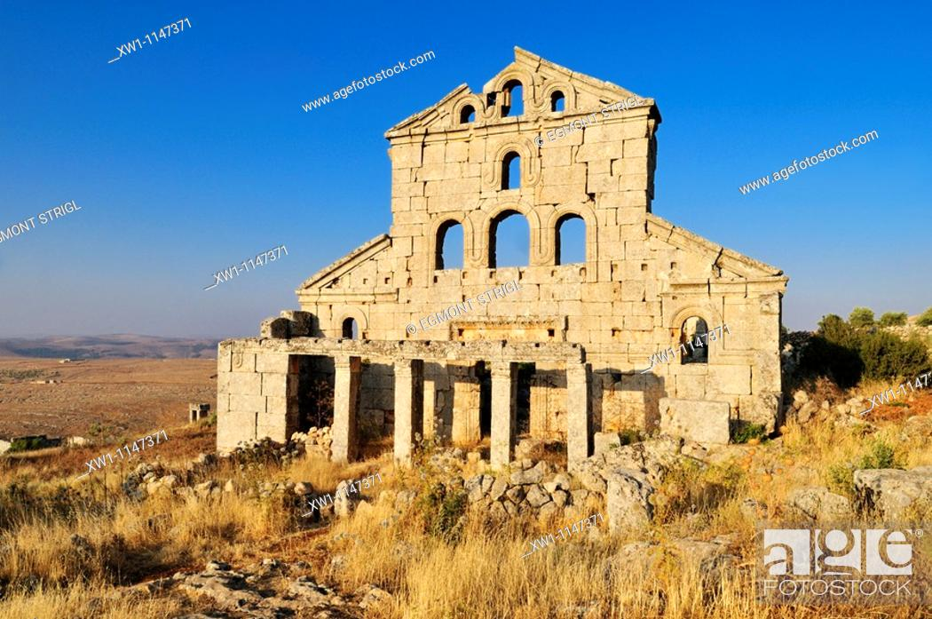 Stock Photo: byzantine church ruin at the archeological site of Baqirha, Dead Cities, Syria, Middle East, West Asia.