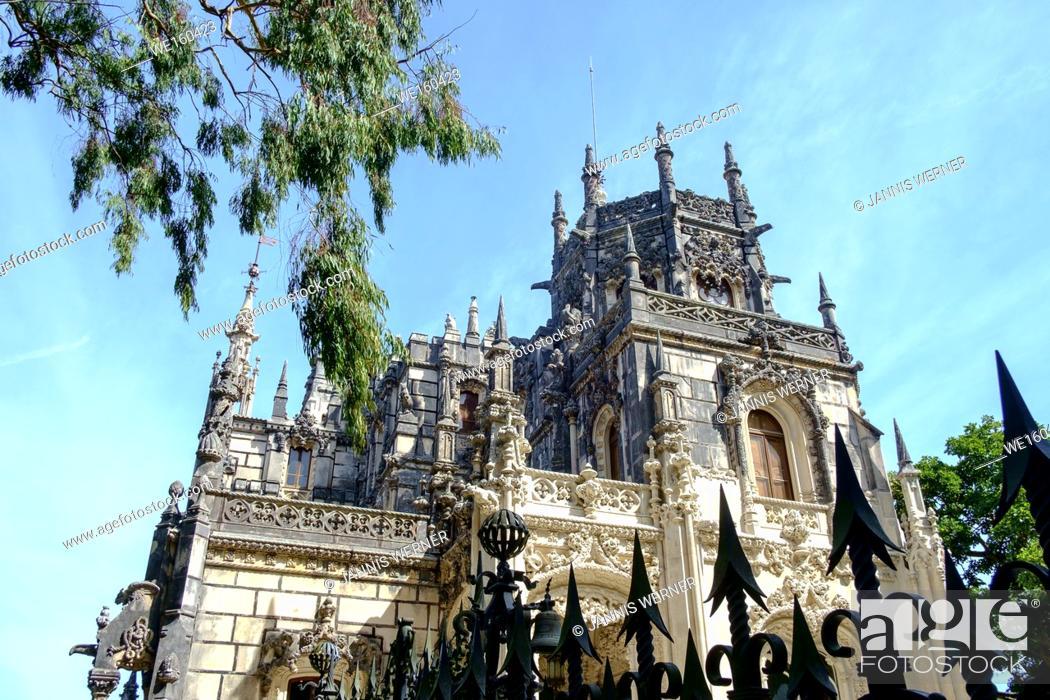 Stock Photo: Regaleira Palace at the historic Quinta da Regaleira estate at Sintra, Portugal.