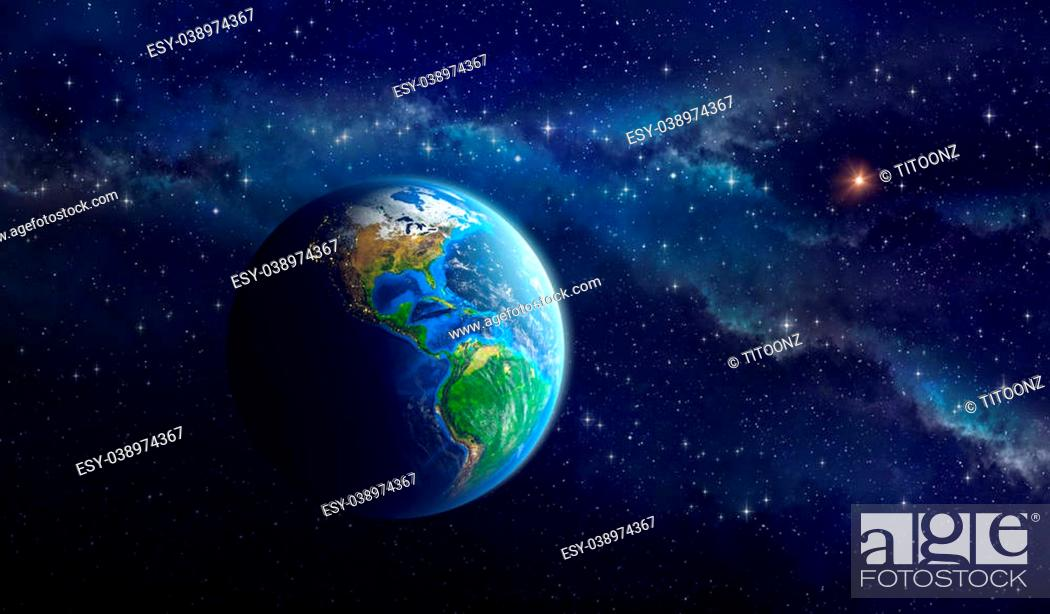 Very High Definition Picture Of The Earth In Outer Space Stock