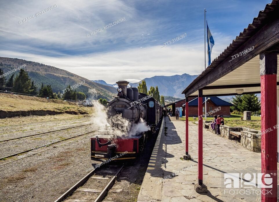 Stock Photo: Old Patagonian Express La Trochita, steam train, Esquel Train Station, Chubut Province, Patagonia, Argentina.