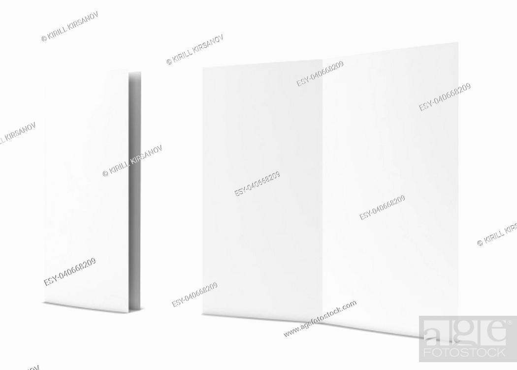 Stock Photo: Bi-fold brochure. 3d illustration isolated on white background.