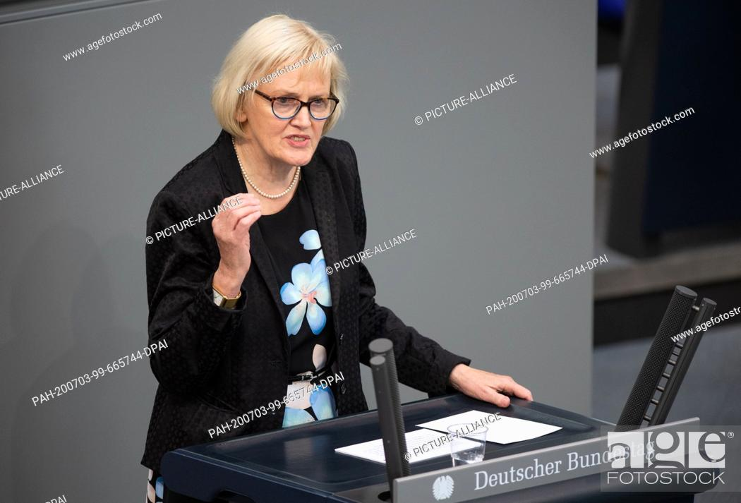 Stock Photo: 03 July 2020, Berlin: Ursula Schulte (SPD) speaks in the plenary session of the German Bundestag. The main topics of the 171st session of the 19th legislative.