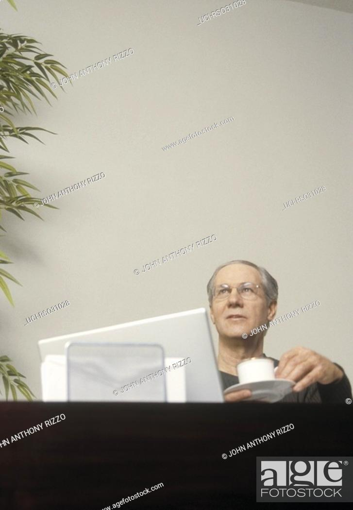 Imagen: Mature man sitting behind laptop.