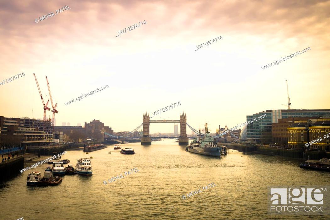 Stock Photo: Tower Bridge in London at dusk.