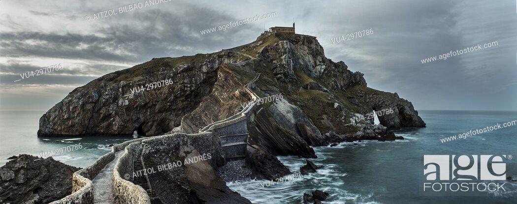 Stock Photo: San Juan de Gaztelugatxe, a small island connected with a bridge. Basque Country.