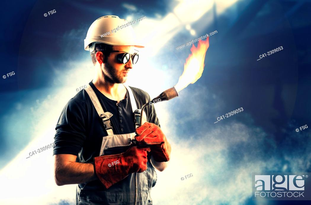 Stock Photo: Worker in a foundry.
