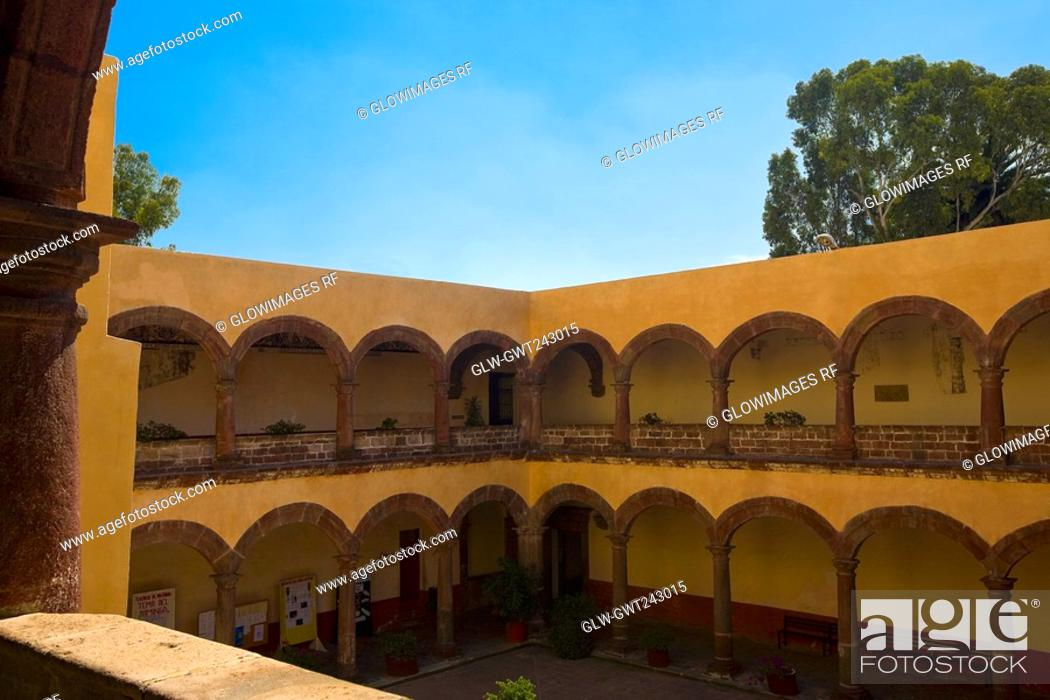 Stock Photo: Arcade of a church, Church of San Bernardino of sienna, Xochimilco, Mexico.