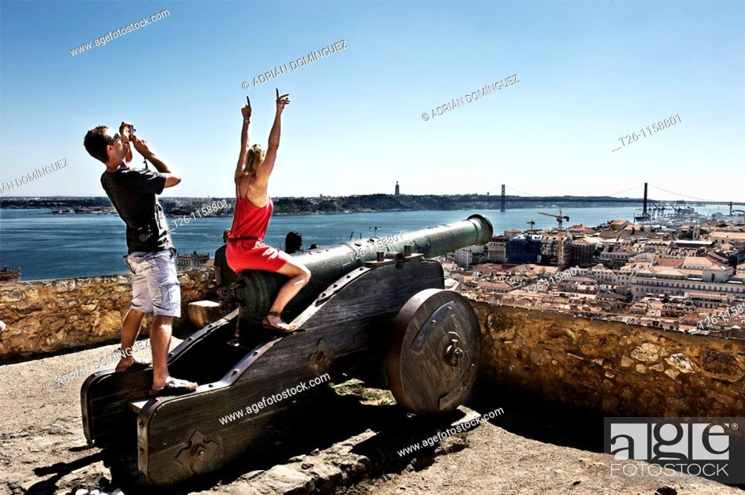Stock Photo: A couple enjoying the view from the Castle of St. George. Lisbon, Portugal.