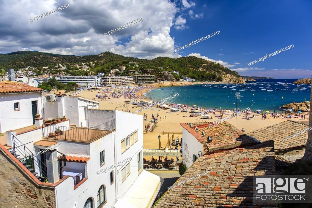 Stock Photo: Beach of Tossa de Mar from Villa Vella, Costa Brava, Catalonia, Spain.